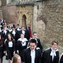 Students at Cambridge University walk to the Senate House to receive their degrees. 'If you give everyone in disadvantaged schools the very highest standard of education, you improve lives collectively.' Photograph: Geoffrey Robinson/Rex Features